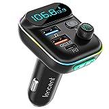 [Versión 2021] LENCENT Transmisor FM Bluetooth 5.0,Manos Libres Reproductor Música Coche, Adaptador Radio Bluetooth 2 USB+Tipo C Carga Rápida, Soporte Memoria USB