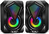 Altavoces para Ordenador Sistema, Mini Altavoz de Escritorio con luz LED Colorida, estéreo 2.0 USB Alimentado 3.5 mm Aux portátil Multimedia RGB Altavoz para PC portátil tabletas iPhone