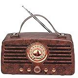 Retekess TR607 Vintage Radio Retro con Altavoz Bluetooth Inalámbrica, FM Radio con Batería Recargable 1500mAh, Doble Altavoz, Reproductor de MP3, Admite Disco USB, Tarjeta TF, Entrada AUX