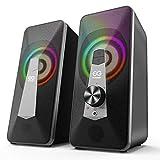 ELEGIANT Altavoces PC Sobremesa 10W, Altavoz Bluetooth Gaming con USB, Modo Cable & Inalámbrico, 3 Modos de RGB Mejorado con Control Integrado, Sonido Estéreo para Ordenador Portátil, Móvil, Tableta