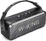Altavoz Bluetooth portátil de 60 vatios fuerte, altavoz Bluetooth de graves W-KING con tiempo de reproducción de 24 horas/batería de 8000 mAh, altavoz exterior impermeable IPX6 inalámbrico, tarjeta TF