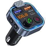 [Versión 2021] LENCENT Transmisor FM Bluetooth 5.0,Manos Libres Reproductor Música Coche, Deep Bass Sonido Hi-Fi, Adaptador Radio Bluetooth 2 USB+Tipo C 20W Carga Rápida, Soporte Disco U