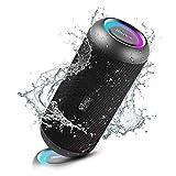 RIENOK Altavoz Bluetooth 30W Impermeable IPX67 Altavoz Inalámbrico Bluetooth 5.0 Con Luces, Recargable USB Sonido Envolvente 360°, Apoya Micro SD AUX