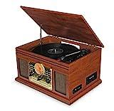 Tocadiscos de Vinilo Vintage con Altavoces Integrados - Reproducción de MP3 USB / Bluetooth / Radio FM / Reproductor de CD y Casete / Discos de Vinilo LP / Lector de Tarjetas SD / Grabadora (Marrón)