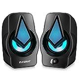 ELEGIANT Altavoces PC, 10W Altavoz 2.0 USB Gaming Sobremesa, Sonido Estéreo, Control Integrado, LED RGB Mejorado para Escritorio, Móvil, Casa, Viaje, Oficina, Fiesta, Ordenador Portátil, Regalo