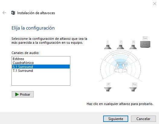 configurar sonido altavoces 5.1 en windows 10